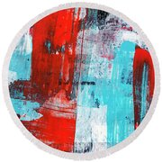 Round Beach Towel featuring the painting Turquoise And Red Abstract Painting by Christina Rollo