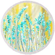 Turquoise And Yellow Round Beach Towel