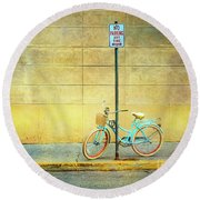 Turquoise Bicycle Round Beach Towel by Craig J Satterlee