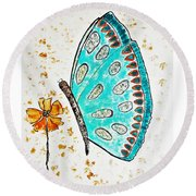Turquoise Butterfly Round Beach Towel