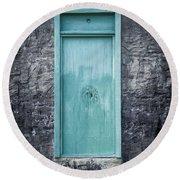 Turquoise Door Round Beach Towel