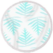 Turquoise Fern Array Round Beach Towel