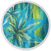 Turquoise Florals Round Beach Towel