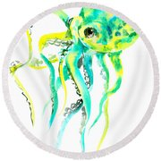 Turquoise Green Octopus Round Beach Towel by Suren Nersisyan