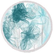 Turquoise In Sync Round Beach Towel
