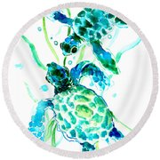 Turquoise Indigo Sea Turtles Round Beach Towel