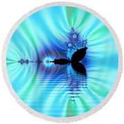 Turquoise Lake Fractal Round Beach Towel