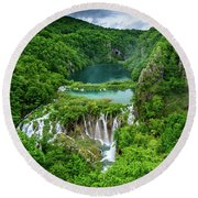 Turquoise Lakes And Waterfalls - A Dramatic View, Plitivice Lakes National Park Croatia Round Beach Towel