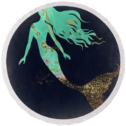 Turquoise Mermaid Round Beach Towel by Mindy Sommers