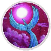 Turquoise Moon Phoenix Round Beach Towel by Laura Iverson