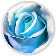 Turquoise Rose Round Beach Towel