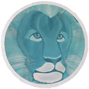 Turquoise Lion Round Beach Towel