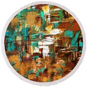 Round Beach Towel featuring the painting Turquoise Scent by Carmen Guedez