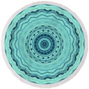 Turquoise Serenade Round Beach Towel by Sheila Ping