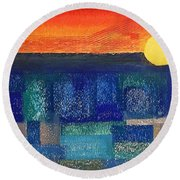 Turquoise Sunset Round Beach Towel