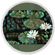Turquoise Waterlilies 1 Round Beach Towel