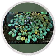 Turquoise Waterlilies 2 Round Beach Towel