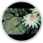 Turquoise Waterlilies 3 Round Beach Towel
