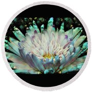 Turquoise Waterlilies 5 Round Beach Towel