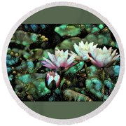Turquoise Waterlilies 6 Round Beach Towel