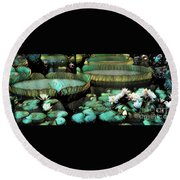 Turquoise Waterlilies 7 Round Beach Towel