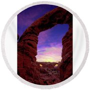 Round Beach Towel featuring the photograph Turret Arch To Windows by Norman Hall