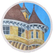 Round Beach Towel featuring the drawing Turrets Of Lawson Tower by Dominic White