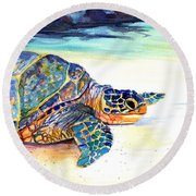 Turtle At Poipu Beach 2 Round Beach Towel