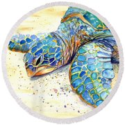 Turtle At Poipu Beach 4 Round Beach Towel