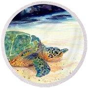 Turtle At Poipu Beach 5 Round Beach Towel