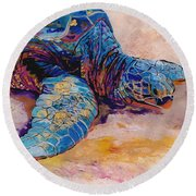 Round Beach Towel featuring the painting Turtle At Poipu Beach 6 by Marionette Taboniar