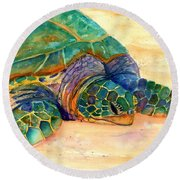 Round Beach Towel featuring the painting Turtle At Poipu Beach 7 by Marionette Taboniar