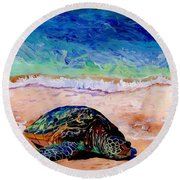 Round Beach Towel featuring the painting Turtle At Poipu Beach 9 by Marionette Taboniar