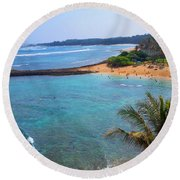 Turtle Bay Lagoon Round Beach Towel by Michael Rucker