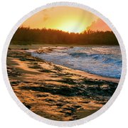 Turtle Bay Sunset 2 Round Beach Towel