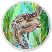 Round Beach Towel featuring the painting Turtle Cove by TM Gand