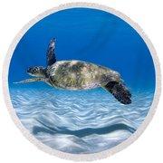 Turtle Flight -  Part 2 Of 3  Round Beach Towel