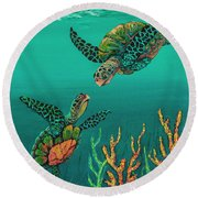 Round Beach Towel featuring the painting Turtle Love by Darice Machel McGuire