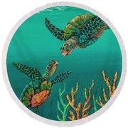 Turtle Love Round Beach Towel