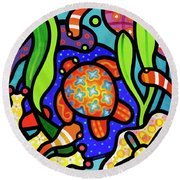 Turtle Reef Round Beach Towel