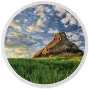 Turtle Rock At Sunset 2 Round Beach Towel