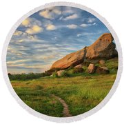 Turtle Rock At Sunset Round Beach Towel