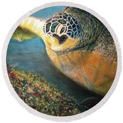 Turtle Run Round Beach Towel