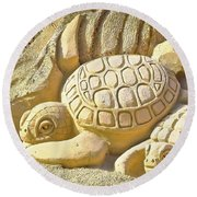 Turtle Sand Castle Sculpture On The Beach 999 Round Beach Towel