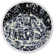 Round Beach Towel featuring the painting Turtle Walking Under A Starry Sky by Fabrizio Cassetta