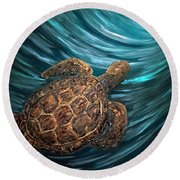 Turtle Wave Deep Blue Round Beach Towel