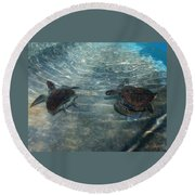Turtles Quite Different Round Beach Towel