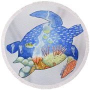 Round Beach Towel featuring the painting Turtle's World by Edwin Alverio