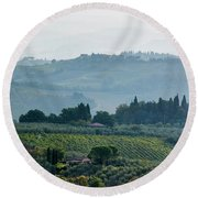Round Beach Towel featuring the photograph Tuscan Afternoon by Jean Haynes