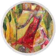 Tuscan Daughter Round Beach Towel by Gail Butters Cohen